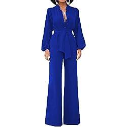 Minetom Femmes Sexy Une Épaule Combinaisons Solides Large Jambe Long Barboteuse Pantalon Avec Ceinture Bleu FR 46