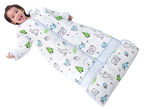 Chilsuessy Winter 2.5 Tog Kinder Schlafsack mit abnehmbaren Ärmeln Bio Babyschlafsack für Jungen und Mädchen von 1 bis 10 Jahre alt (XL/Koerpergroesse 130-150cm, Blau Wald)