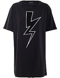 Neil Barrett Femme PNJT44PE536C01 Noir Coton T-Shirt