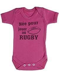 TRS - Née pour jouer au Rugby Body bébé 100% Coton