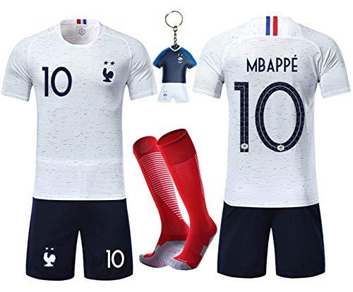 VOOA Maillots de Football Enfants de France Soccer Jersey 2018 Coupe du Monde France 2 Étoiles Football T-Shirt et Short Chaussettes (Blanc 10 Mbappe, Tag28)