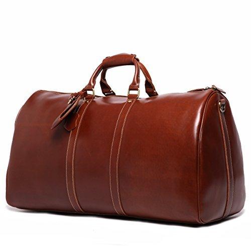 Leathario sac voyage en cuir véritable bagage cabine valise en cuir véritable Marron Café