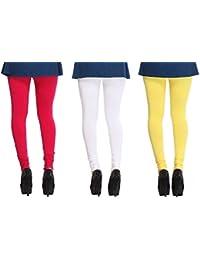 Leggings Free Size Cotton Lycra Churidar Leggings Pack Of 3 Majenda , White & Yellow By SMEXY