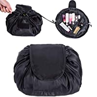 Drawstring Makeup Bag,ONEGenug Cosmetic Bag,One-Step Toiletry Organizer, Cosmetic Pouch for Lazy Ladies Black