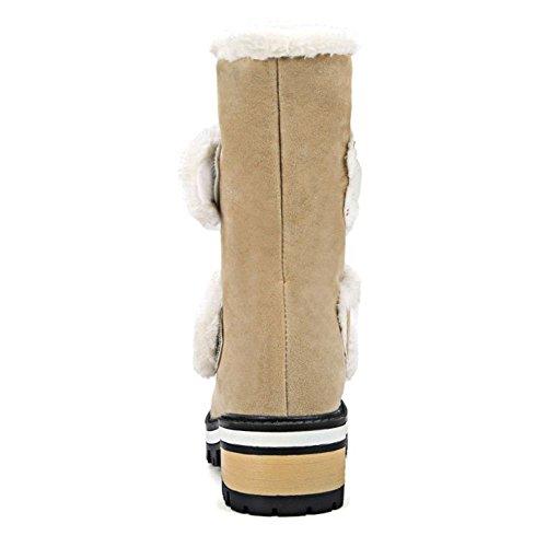 RAZAMAZA Femmes Bottes Velcro Fourrure Synthetique Beige