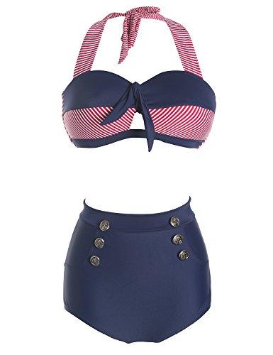 MinYuocom Donna Costumi da Bagno Costume intero Vita Alta Due Pezzi Bikini Marina MZF1525 Marina