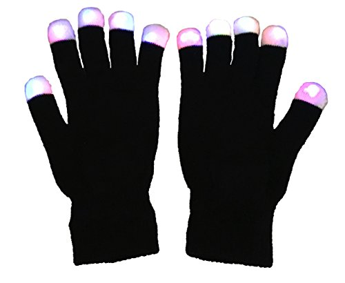 Tragen Zur Sie Schule Ein Kostüm - LED Fete Handschuhe- Mehrfachfarbe Leuchtend Fingerspitzen FL14 Auf