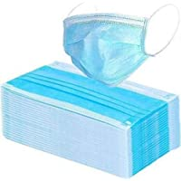 Amrange Non Wooven Elastic Ear-Loop Disposable Face Mask,3 Ply Pack of 100 Pieces,Colour -Blue