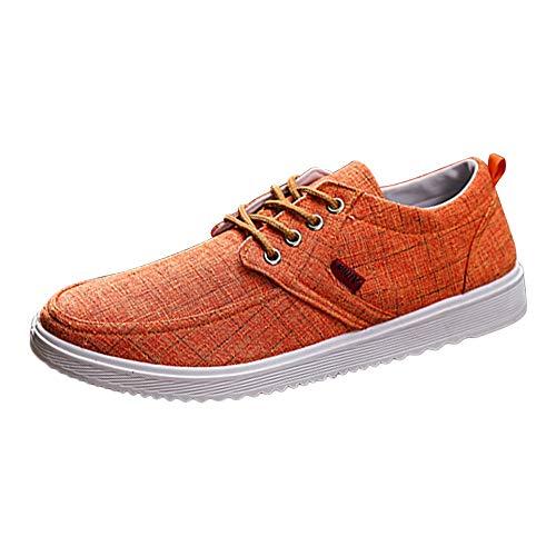 Moika uomini round toe tela piatta lace-up shoes casual scarpe comode (260/43, orange)
