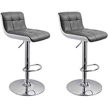 Duhome 0665 Lot de 2 tabouret de bar GRIS en similicuir et plastique DESIGN UNIQUE