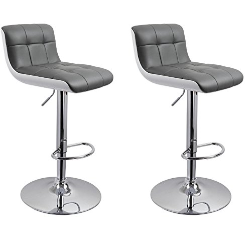 Duhome's 0665 Set of 2 Bar stool in WHITE GREY with UNIQUE DESIGN, height adjustable