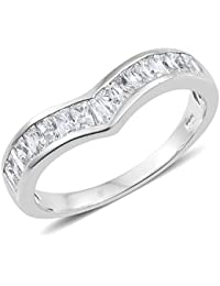 J FRANCIS Women Platinum Plated 925 Sterling Silver Made with Swarovski® Zirconia Cocktail Ring Size Q