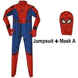 vogcrest Neuf Enfants garçons Spider-Man Homecoming Costume Enfant Spiderman Spandex Combinaison Costume Superhero Cosplay Halloween Tenue de Noël