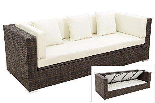 OUTFLEXX 3-Sitzer Sofa aus Robustem Polyrattan in Braun Marmoriert mit Kissenboxfunktion inkl....