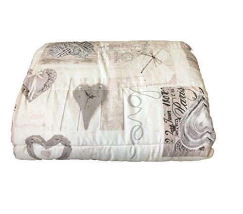 Trapuntina shabby love cuore grigio trapunta shabby letto matrimoniale 250x260 cm copriletto made in italy