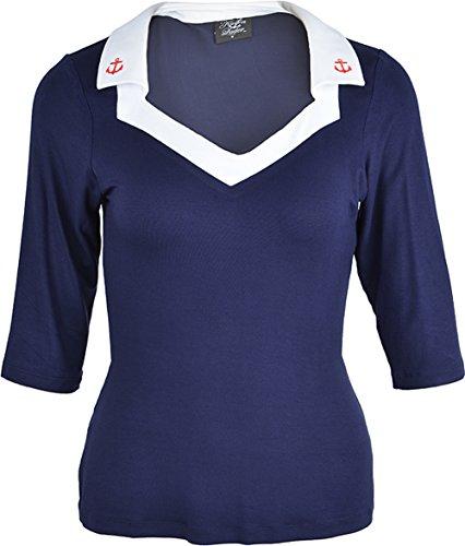 Küstenluder Damen Oberteil Raquel Anker Matrosen Shirt Blau L