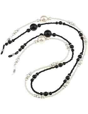 Sharplace Cadena de Granos y Perlas para Gafas de Sol Color Blanco Negro 2 Pedazos