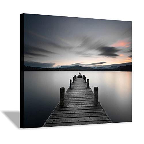 Hardy Gallery Foto-Druck auf Leinwand, Motiv Strandsteg am Strand, 40,6 x 30,5 cm -