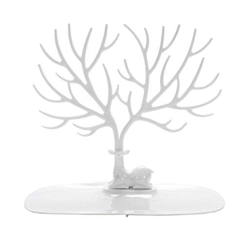Chytaii Schmuckständer in Baum-Form Kunststoff-Halterung Ohrringe Armbänder Ringe Form von Hirsch Schmuckhalter Organizer Aufbewahrung von Schmuck weiß
