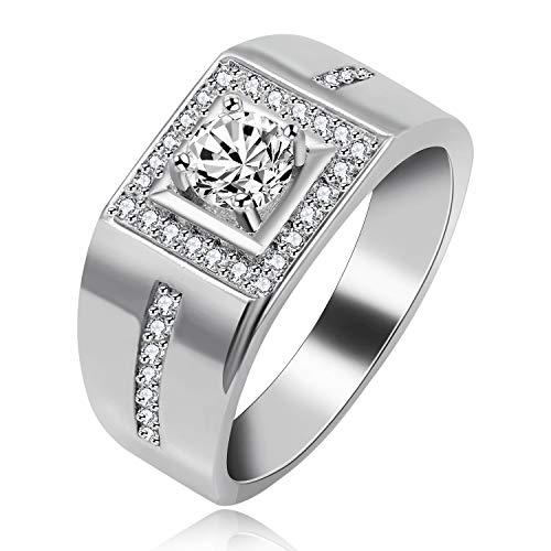 Uloveido Platinum Plated Herren Promise Rings Zirkonia Hochzeit Verlobungsbänder Ring für Männer Boy (Platinum, Größe 54 (17.2))