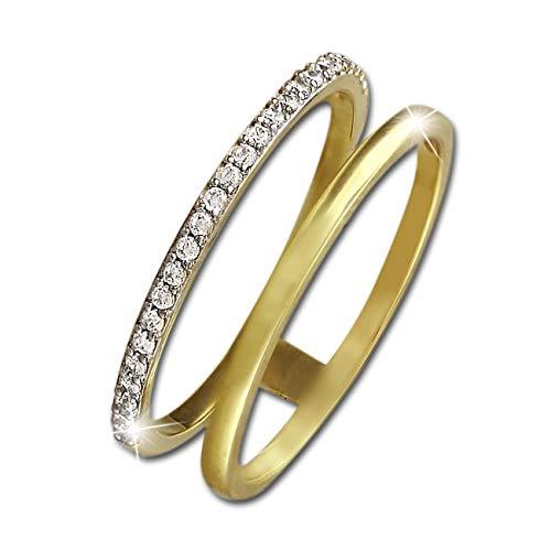 SilberDream Doppel-Ring 8 Karat Gold Gr.60 333er Gelbgold Zirkonia D2GDR505Y60