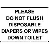 BDTS Metall-Warnschild Please Do Not Flush Einweg-Windeln, Wischtücher Toilette, Aluminium, 20,3 x 30,5 cm