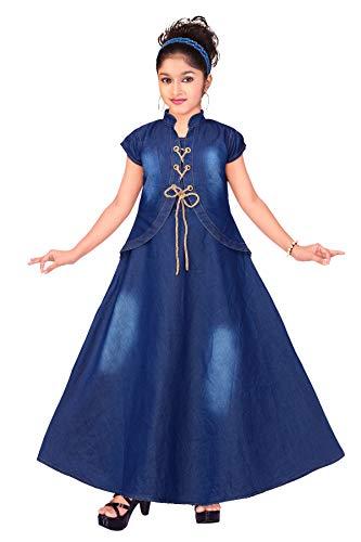 Ark Dresses Girl's Denim Frock (Blue, 9-10 Years)