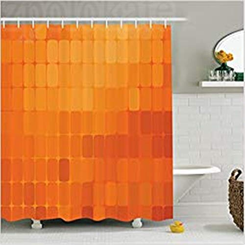 FANGCAO, Burnt Orange Decor Duschvorhang-Set, quadratische Formen und Motive mit warmen Feuerfarben Digital Decorative Desing Living, Badezimmer (Color : Other, Size : 36x78 inch) (Burnt Orange Küchen-sets)
