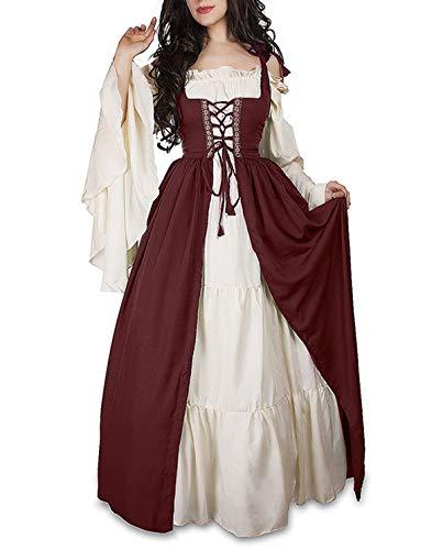 Frühling Herbst Damen Mittelalter Renaissance Königin Kleid Mode -