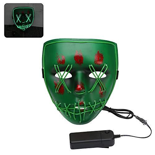 Halloween LED Máscaras, URAQT Máscaras para Adultos, Craneo Esqueleto Mascaras,para la Navidad Halloween Cosplay Grimace Festival Party Show, Batería motorizado(no Incluido), Luz Verde
