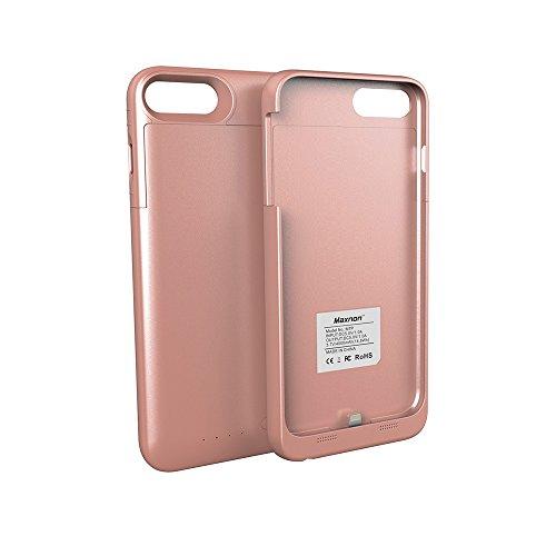 Custodia Batterie iPhone 7 Plus / 8 Plus, 4000mAh Esterno Portatile Ricaricabile Power Bank Extra Pack Extended Batteria Integrata Custodia Protettiva Cover per iPhone 7 Plus / 8 Plus (Oro Rosa)