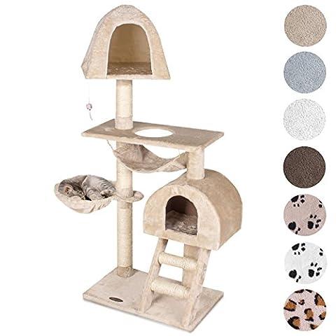 Happypet® Kratzbaum für Katzen 130 cm hoch dicke Säulen mit Sisal ca. 8,0 cm Höhle Liegemulde Hängematte Spielmaus Beige