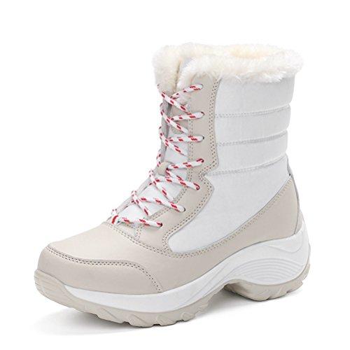 Damen Schneestiefeln Schnürer Blumen Baumwolle Warme Winter Knöchelstiefeln Weiß