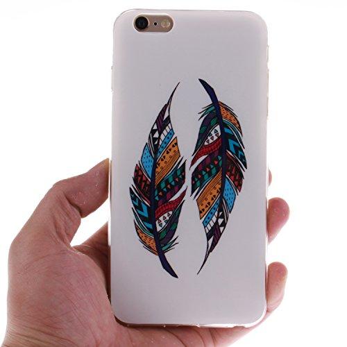 Apple iPhone 6 4.7 hülle MCHSHOP Ultra Slim Skin Gel TPU hülle weiche Silicone Silikon Schutzhülle Case für Apple iPhone 6 4.7 - 1 Kostenlose Stylus (Flagge der Vereinigten Staaten (Flag of the United Tribal Aztec Feder (Tribal Aztec Feather)
