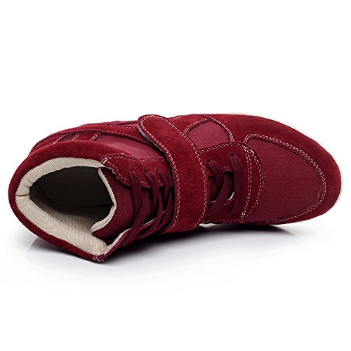 Shenni Femmes Grosses Soldes Confort Talon Compensé La Boucle du Crochet Mode Chaussures 8522 Bourgogne
