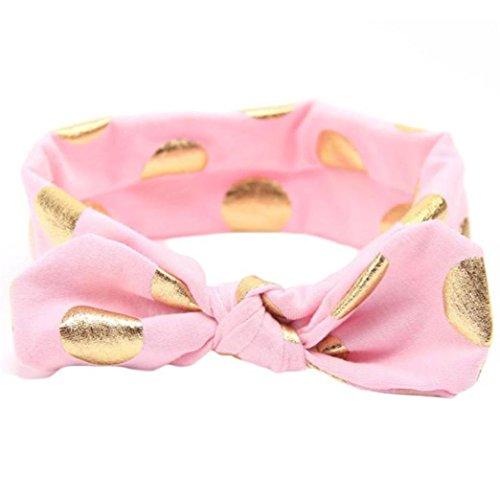 erthome Stirnband, Baby Mädchen Bowknot Haarband Set 3Pcs Kinder elastisches Blumen Stirnband Haarband (Bronzierender Bogen Rosa)