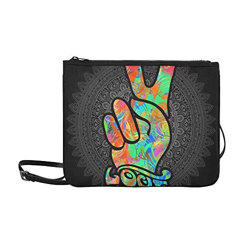 WYYWCY Hippie-Symbole Zwei Finger Zeichen Victory Benutzerdefinierte hochwertige Nylon Slim Clutch Crossbody Tasche Umhängetasche Nylon Slim Rucksack