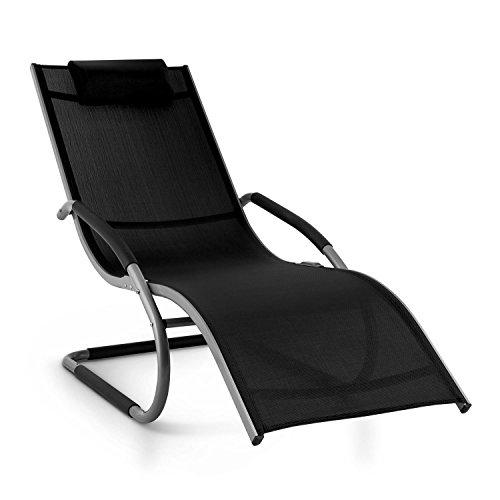 Blumfeldt Sunwave Chaise Longue de Jardin (accoudoirs, résistante aux intempéries, Cadre en Aluminium Arrondi pour Un Effet Bascule, Pliable) - Noir