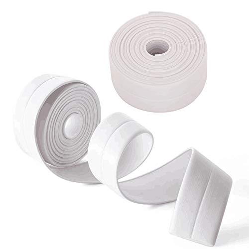 Amaoma nastro sigillante impermeabile nastro adesivo sigillante autoadesivo per lavello cucina bagno doccia vasca bordi decorativo a prova di muffa striscia sigillante bianco 3,8mm * 3,2m 2 pezzi