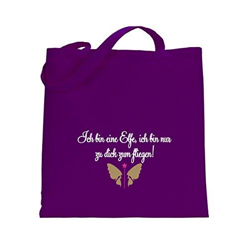 Shirtfun24 Baumwolltasche ICH BIN EINE ELFE ICH BIN NUR ZU DICK ZUM FLIEGEN lila violett