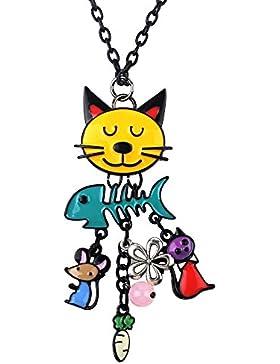 Französische Katze Emaillierte bunte Halskette Anhänger mit Fisch Legierung Charme lange Kette mit einzigartig...