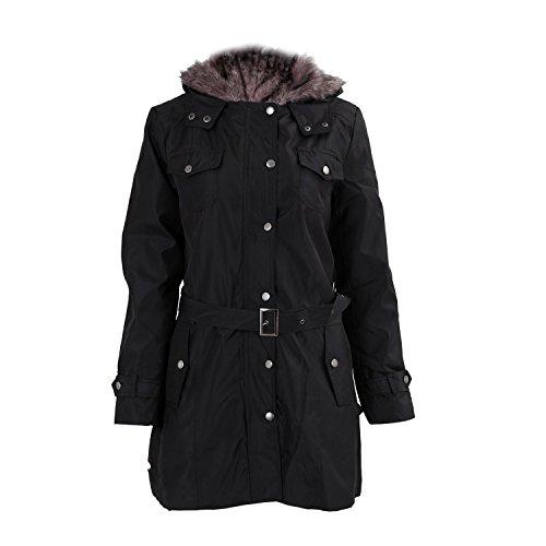 SODIAL (R) Frauen Dicker Warmer Wintermantel Kapuze Parka Mantel Lange Jacke Outwear - Schwarz - Groesse XXL