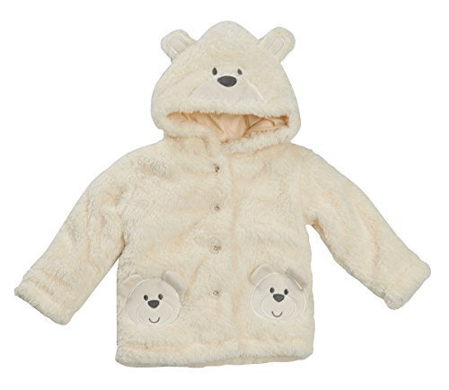 Unisex Boys Girls Baby Snuggle Teddy Coat Infants Cream Soft Hooded Teddy Bear Furry Fleece Jacket Xmas Gift Present (9-12 MONTHS, CREAM)
