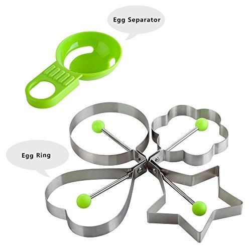 Cocine Huevo Frito Pancake anillo molde molde profesional de acero inoxidable cocina cocinar herramienta-Looking perfectamente corazón, anillo, flor, con forma de estrella de huevo Separador (Pack de 4)