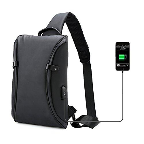 Koolertron Brusttasche Schultertasche Herren Wasserdichte für 9,7 Zoll Ipad mit USB-Ladeanschluss Männer Umhängetasche