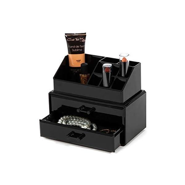Compactor 2cassetto Gioielli e Trucco organizzatore, Nero 5 spesavip