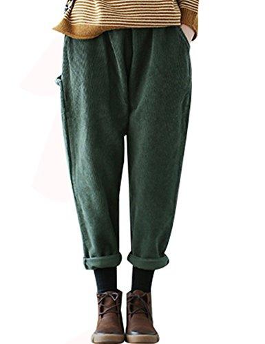Youlee Damen Elastische Taille Cordhosen Haremshose Green