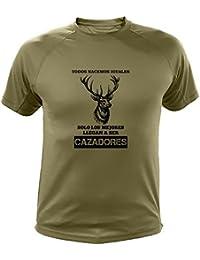 Camisetas personalizadas de caza, Todos nacemos iguales, Ciervo - Ideas regalos (30129, Verde, XXL)