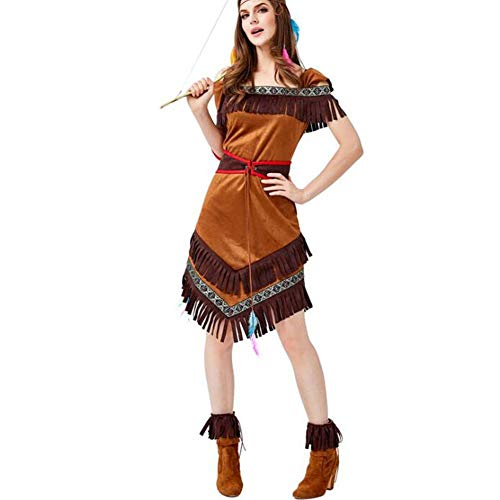 Kostüm Archer Für Erwachsenen - QWE Halloween Kostüm Aboriginal Archer Kostüm Flat Shoulder Printed Tassel Dress