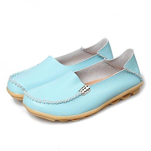 CCZZ Moccasin Femme Cuir Loafers Casuel Bateau Chaussures De Flats Bleu Clair